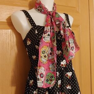Sugar Skull Scarf Bundle 2 Pink & 1 Blue